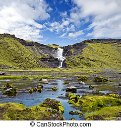 Ofaerufoss - The Ofaerufoss waterfal in the Eldgja volcanic...