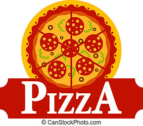 Pizza sign - Vector cartoon illustration depicting a simple...