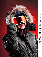 Young girl wearing ski clothes - Young girl in sport ski...
