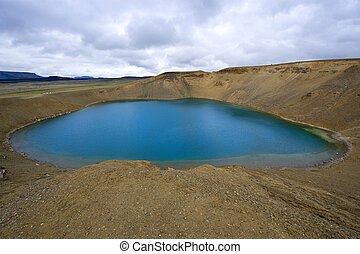 Caldera Lake - The Viti Hell Caldera Lake in the Krafla...