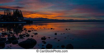 amanhecer, norte, lago, tahoe