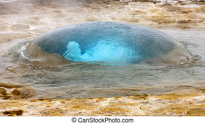 Strokkur Geyser - The famous Strokkur Geyser about to erupt