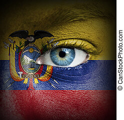 Human face painted with flag of Ecuador