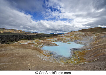 Krafla Volcanic System - A turquoise lake in a caldera of...