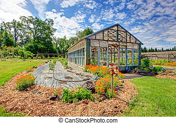 Farm green house - Fenced farm backyard with big green house