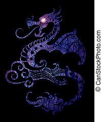dragón, ojo, luz