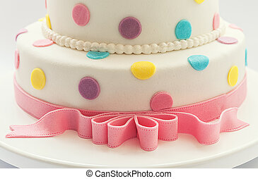 Birthday cake - Details of a birthday cake, isolated on...