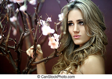 Pretty Young Lady With Cherry Blossoms