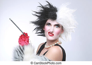 Evil Angry Woman With Crazy Hair - Fantasy Themed Evil Angry...
