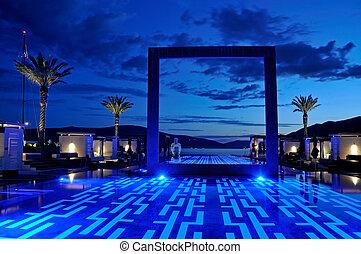 Luxury pool sunset