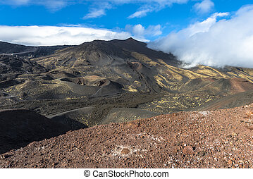 Top of Etna mountain in Sicily - view from top of Etna...