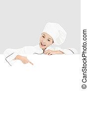 mujer, Señalar, joven,  Chef, tabla, blanco, sonriente