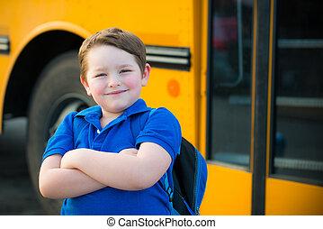 前部, 男の子, 学校, バス