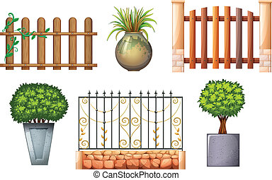Wooden and steel fences with plants - Illustration of the...
