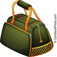 A green bag with orange zipper - Illustration of a green bag...