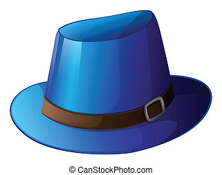 A blue hat with a brown belt - Illustration of a blue hat...