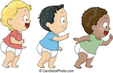 Walking Babies - Illustration of Baby Boys Walking Towards...