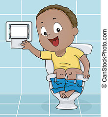 Boy Reaching for Toilet Paper - Illustration of a Little Boy...