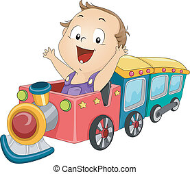 Baby Boy Train - Illustration of a Baby Boy Riding a Toy...