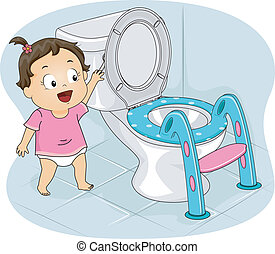 Little Girl Flushing Toilet - Illustration of a Little Girl...