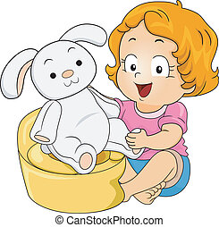 Bunny Potty Training - Illustration of a Little Girl...