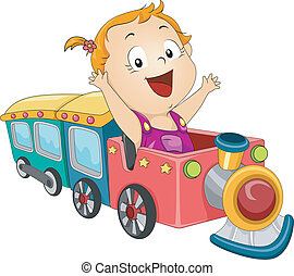 Baby Girl Train - Illustration of a Baby Girl Riding a Toy...