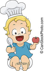 Baby Boy Chef - Illustration of a Little Boy Wearing a Toque...