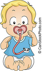 Pacifier Clip - Illustration of a Baby Boy Sucking on a...