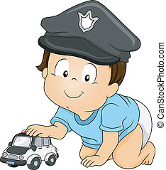 Baby Cop - Illustration of a Baby Boy Wearing a Police Cap