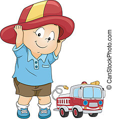 Fireman Costume Boy - Illustration of a Little Boy Wearing a...