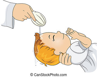 Catholic Baptism - Illustration of a Little Girl Going...