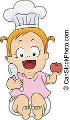 Baby Girl Chef - Illustration of a Little Girl Wearing a...