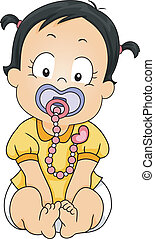 Pacifier Clip - Illustration of a Baby Girl Sucking on a...