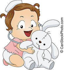 Baby Girl Nurse - Illustration of a Little Girl Trying to...