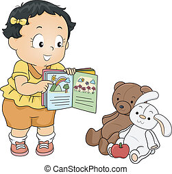 Baby Teacher - Illustration of a Little Girl Trying to Teach...