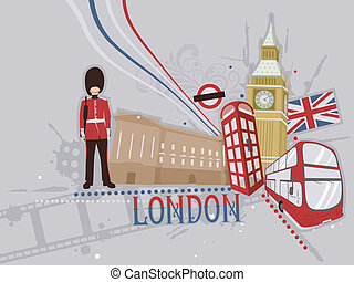 London Scrapbook - Illustration of a Scrapbook with a...