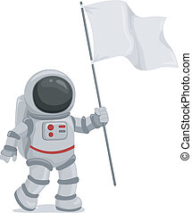 Astronaut Waving Flag - Illustration of an Astronaut Wearing...