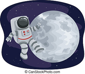 Astronaut Floating in Space - Illustration of an Astronaut...