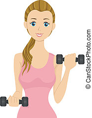 Weights Girl - Illustration of a Girl Lifting Dumbbells