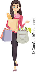 Grocery Shopping - Illustration of a Girl Carrying Bags of...