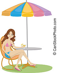 Summer Umbrella - Illustration of a Girl Resting Enjoying a...