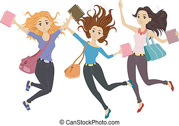 Students Jump Shot - Illustration of Teenage Students Doing...