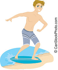 Skimboarding Guy - Illustration of a Guy Skimboarding