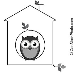 Twig House - Owl in his twig house isolated on white...