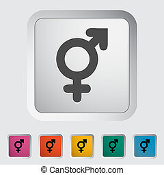 Bisexuals sign. Single flat icon on the button. Vector...