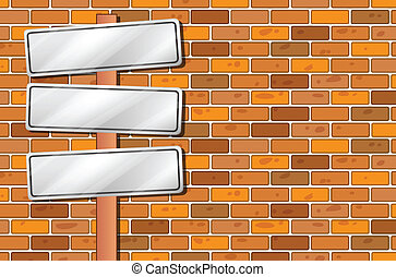 Empty signages in front of the stonewall - Illustration of...