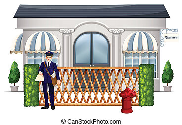 A delivery man outside the restaurant - Illustration of a...