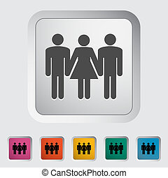 Group sex sign. Single flat icon on the button. Vector...