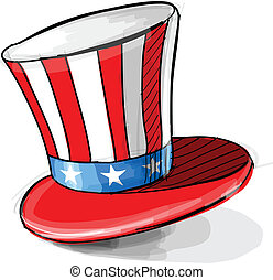 American national colors top-hat - Tall hat isolated on...