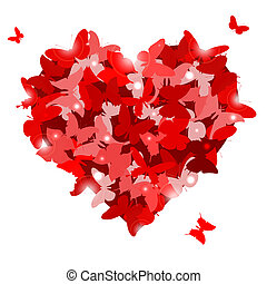Red heart with butterflies for Valentine's day. Love...